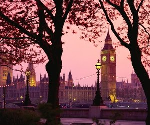 london, Big Ben, and pink image