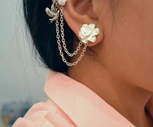 earrings, bird, and flowers image