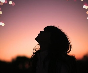 girl, light, and sky image