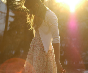 girl, dress, and sun image