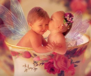 baby, fairy, and cup image