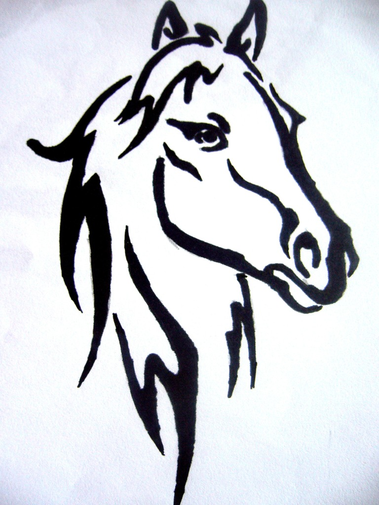 100 Mustang Horse Drawing Running Black Horse