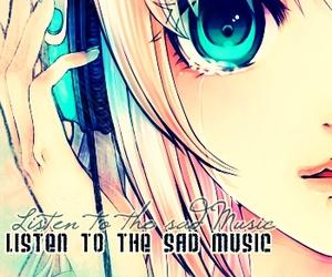 anime, headphones, and sad image