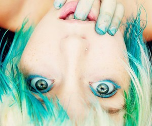 girl, blue, and green image