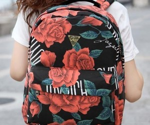 backpack, flower, and girl image