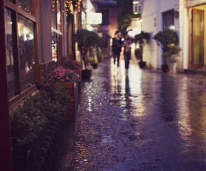 rain, street, and light image
