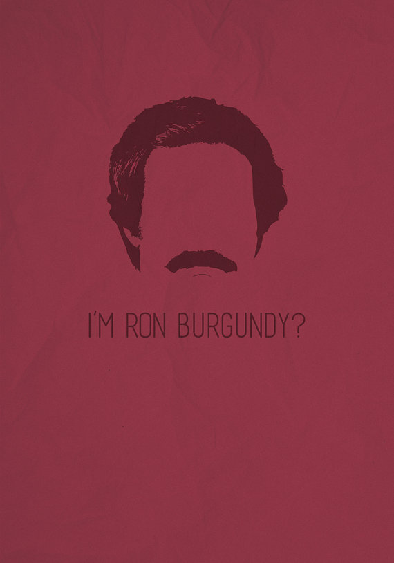 anchorman, minimalism, and movie poster image