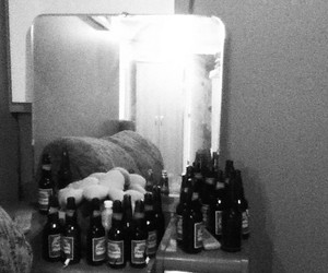 beers, hangover, and black n white image