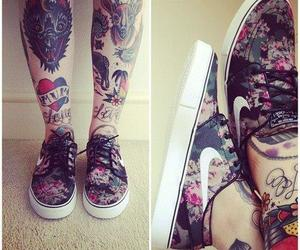 tattoo, nike, and shoes image