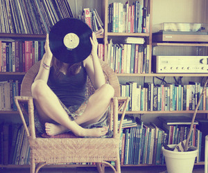 girl, music, and book image