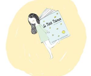 book, girl, and cartoon image