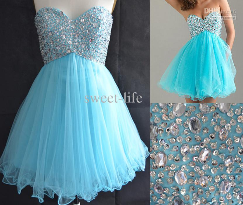 Wholesale Stock Sweetheart Light Blue Graduation Dresses for ...