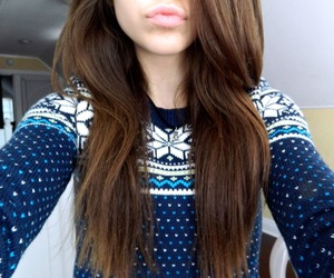 blue, christmas sweater, and brown image