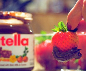 nutella, strawberry, and chocolate image