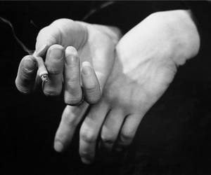 hands, cigarette, and black and white image