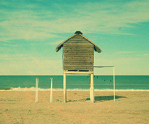 beach, hut, and sea image