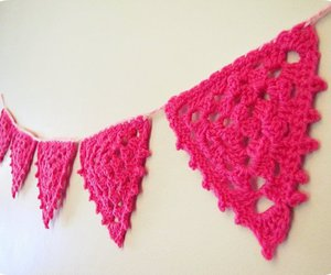 bunting, pink, and crochet image