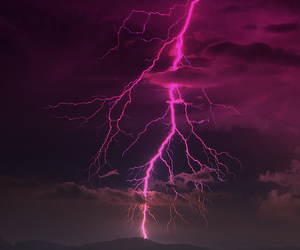 sky, lightning, and pink image