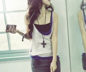 girl, fashion, and cross image