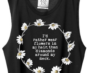flowers, shirt, and black image