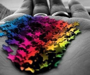 stars, hand, and rainbow image
