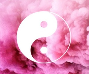 pink, smoke, and ying yang image