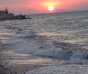 beach, rhodes, and sunset image