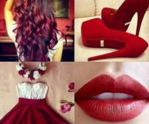 red, hair, and dress image