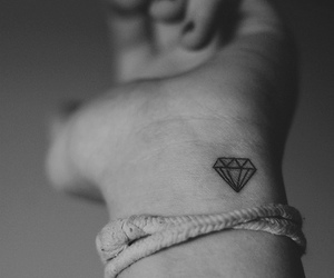 black and white, hand, and diamond image