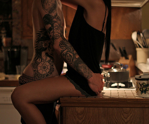 couple, kitchen, and Tattoos image