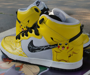 pikachu, nike, and shoes image