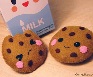 cute, Cookies, and milk image