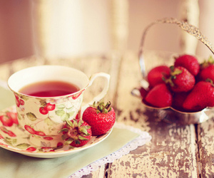 strawberry, tea, and red image