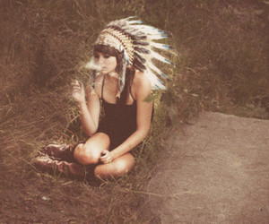 cigarette, chief hat, and sitting invgrass image