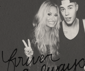 demi lovato, justin drew bieber, and forever and always image