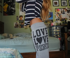 pink, love, and sweatpants image