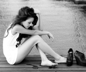 alone, black and white, and dress image