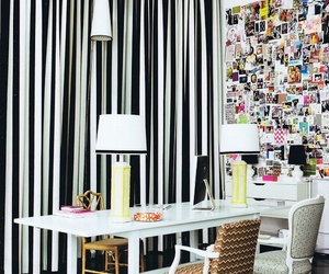 black and white, decoration, and desk image