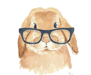 nerd glasses, water color, and bunny glasses brown cute image
