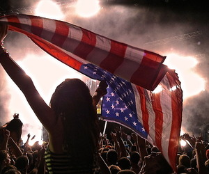 american flag, pit, and concert image