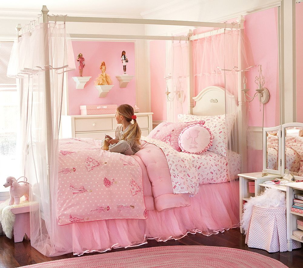 Adorable Pink Themed Teenage Girls Bedroom Design With Comfy