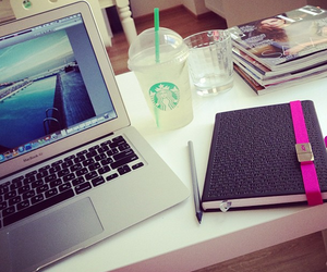 starbucks, macbook, and laptop image