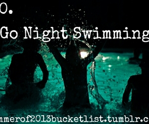 swimming, night, and bucket list image