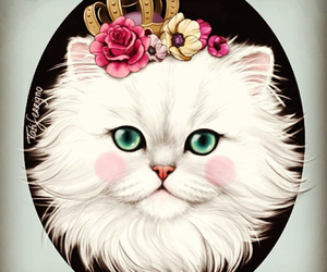 cat, flowers, and crown image