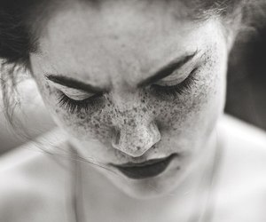 girl, freckles, and black and white image