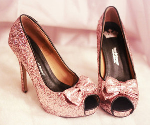 bow, glittery, and high heels image