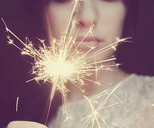 girl, light, and fireworks image