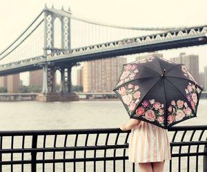 girl, bridge, and umbrella image