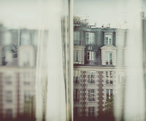 window, paris, and curtains image