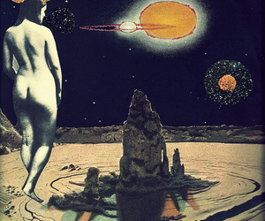Collage, universe, and woman image